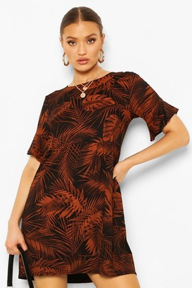 boohoo Leaf Print Smock Dress