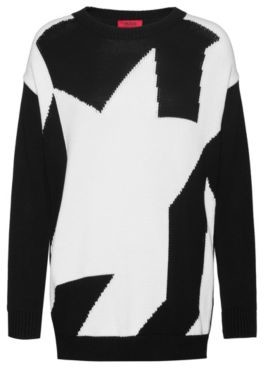 HUGO BOSS - Relaxed Fit Sweater With Abstract Houndstooth Design - Patterned