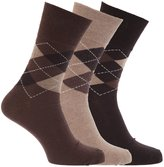 Universal Textiles Mens Honeycomb Top Gentle Grip Argyle Socks (Pack Of 3)
