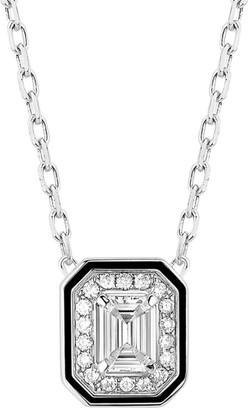 Boucheron Vendome Lisere 18K White Gold, Diamond & Black Lacquer Pendant Necklace