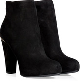 Black/Gold Suede Ankle Boots