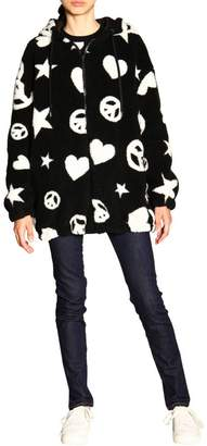 Love Moschino Jacket In Teddy Bear With All Over Pattern And Reversible Nylon