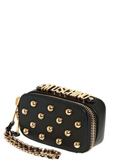 Moschino Studded Soft Leather Mini Clutch