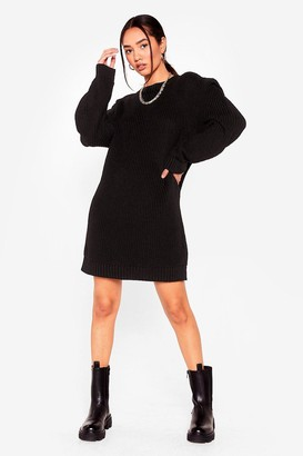 Nasty Gal Womens No Shoulder Pad Vibes Petite Jumper Dress - Black - 4