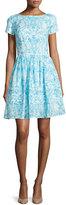 Oscar de la Renta Short-Sleeve Printed Day Dress, Blue