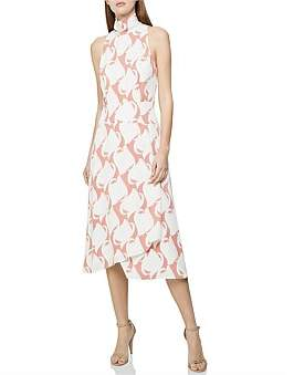 Reiss Doriana Print Swirl Printed High Neck Midi Dress