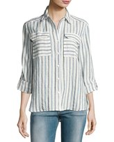 Vince Camuto Long-Sleeve Striped Linen Shirt