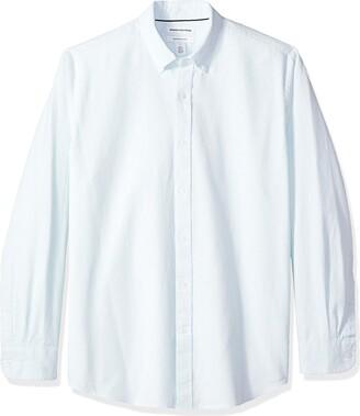 Amazon Essentials Regular-fit Long-sleeve Stripe Oxford Casual Shirt Blue (Aqua AQU)