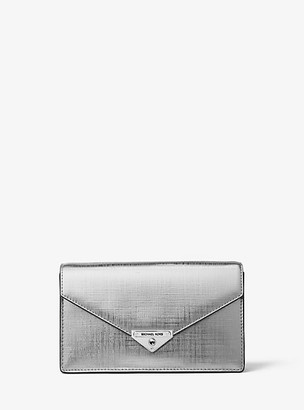 MICHAEL Michael Kors MK Grace Medium Metallic Leather Envelope Clutch - Silver - Michael Kors