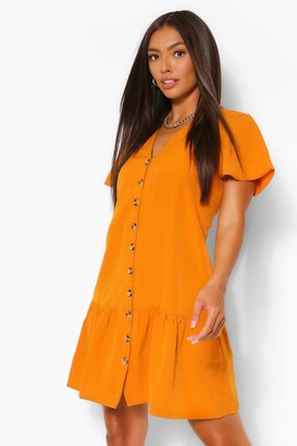 boohoo Button Down Frill Hem Shift Dress
