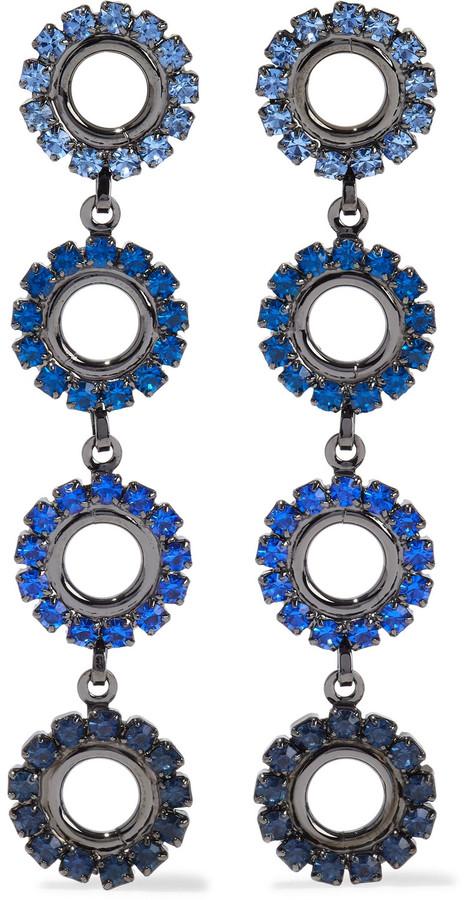 Elizabeth Cole Minka Hematite-plated Crystal Earrings