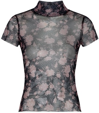 Free People Floral-print mesh T-shirt