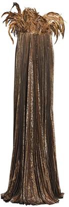 Oscar de la Renta Pleated Lame Strapless Feather Gown