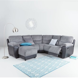 Sienna Fabric/Faux Leather Left Hand Manual Recliner Corner Chaise Sofa