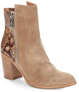 Kenneth Cole New York Ingrid Suede and Snakeskin Ankle Boots