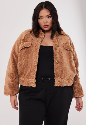 Missguided Plus Size Tan Cropped Utility Borg Jacket
