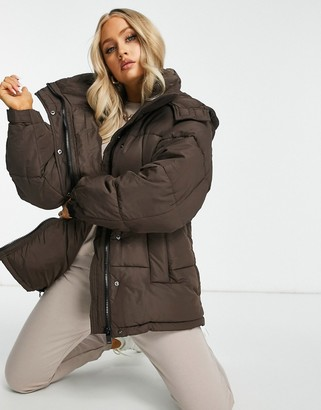 Sixth June oversized puffer jacket in brown
