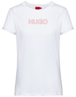 HUGO BOSS Slim Fit T Shirt In Organic Cotton With Outline Logo - Red