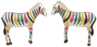 Paul Smith Silver and Multicolor Zebra Cufflinks