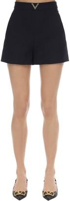 Valentino Metal V Logo Crepe Couture Shorts
