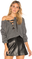 Rails Olivia Lace Up Sweater in Gray. - size L (also in M,S,XS)
