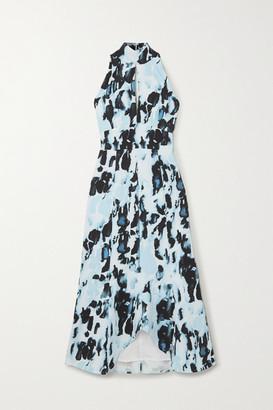 16Arlington Davis Cutout Printed Satin Midi Dress - Blue