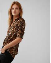 Express slim fit satin leopard portofino shirt