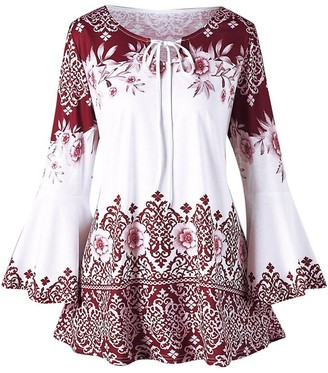 MRULIC Plus Size Fashion Womens Vintage Printed Long Flare Sleeve Tops Blouses Keyhole T-Shirts Dress(Red UK-18/CN-2XL)
