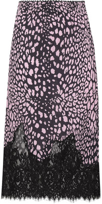 McQ Leavers Lace-paneled Leopard-print Crepe Midi Skirt