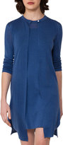 Akris Long Linen-Silk Cardigan, Light Blue
