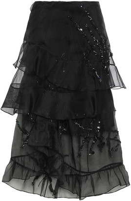 Preen by Thornton Bregazzi Louisa Tiered Crystal-embellished Silk-organza Skirt