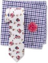 Original Penguin Gitlin Floral Tie, Check Pocket Square, & Solid Lapel Pin Box Set