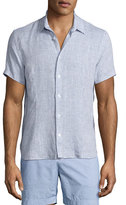 Orelebar Brown Meden Tailored-Fit Short-Sleeve Linen Shirt, Navy
