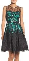 Chetta B Polka Dot Fit & Flare Dress