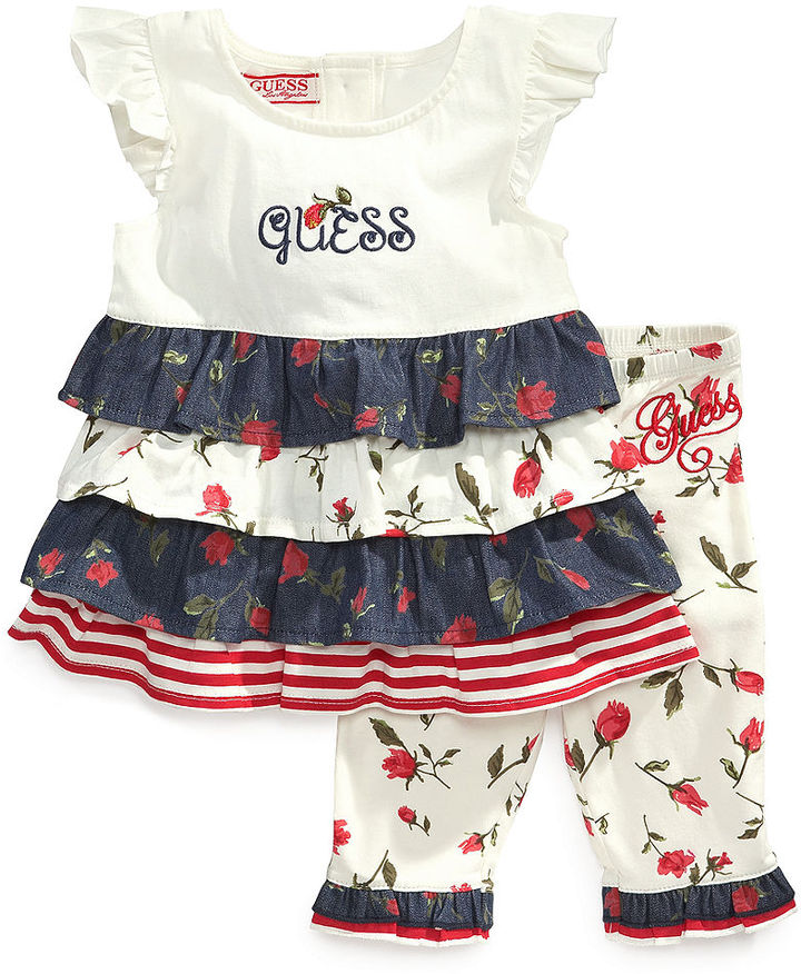 GUESS Set, Baby Girls 2-Piece Tiered Top and Leggings