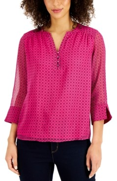 Charter Club Petite Printed Split-Neck Blouse, Created for Macy's