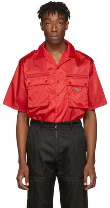 Prada Red Nylon Gabardine Pocket Shirt