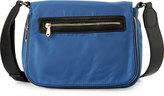Neiman Marcus Charlie Nylon Messenger Crossbody Bag, Dusk Blue