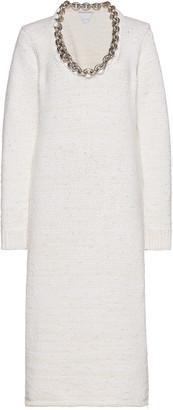 Bottega Veneta Embellished Knitted Cotton-Blend Midi Dress