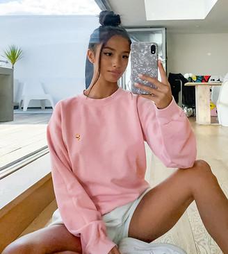 Topshop Petite pizza sweatshirt in pink