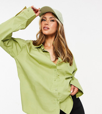 Missy Empire exclusive oversized shirt in khaki