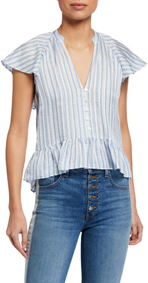 Veronica Beard Maple Striped Button-Down Top