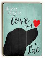 """One Bella Casa Love and A Lab by Ginger Oliphant 18"""" x 24"""" Planked Wood Wall Decor One Size"""