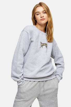 Topshop Womens Grey Walking Tiger Sweatshirt - Grey Marl