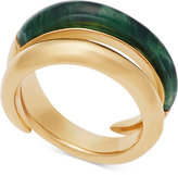 Michael Kors Gold-Tone and Green Bypass Ring