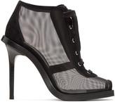 Versus Black Mesh & Suede Lace-Up Boots