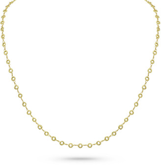 """Dominique Cohen 18k Yellow Gold Carved Ring Delicate Chain Necklace, 22""""L"""