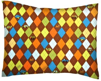 SheetWorld Twin Pillow Case - Percale Pillow Case - Argyle Brown Transport
