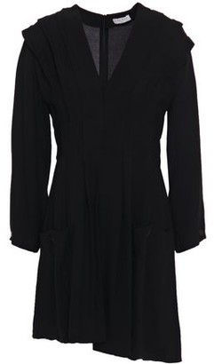 Sandro Milene Asymmetric Pleated Crepe Mini Dress