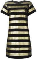 Marc by Marc Jacobs metallic stripe shortsleeved dress - women - Cotton/Polyester/Metallic Fibre - 6